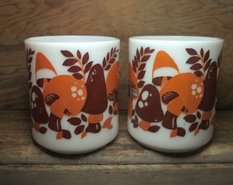 Vintage Milk Glass Mugs Woodland Mushrooms Set/2