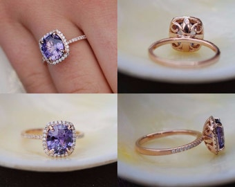 Purple Sapphire Engagement Ring. Rose Gold Ring. 14k rose gold diamond ring. Cushion Sapphire 2.8ct. Engagement ring by Eidelprecious