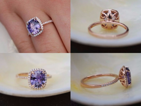Purple Plum Sapphire Ring. Rose Gold Ring. 14k rose gold diamond ring. Cushion Sapphire 2.8ct. Engagement ring by Eidelprecious