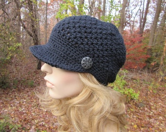 Womens Crochet Newsboy Hat, Mothers Day Gift, Womens Accessories, Adult Cotton Hat, Womens Hat, Teen Hat, Spring Fashion, Black