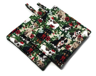 Quilted Christmas Pot Holders Set of 2 Dog Lovers Hot Pads Dogs  and Holly
