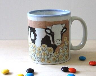 1980s cow mug. Farm animals.