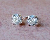 5mm Diamond Faceted Lab White Sapphire Sterling Silver Stud Earrings, Cavalier Creations