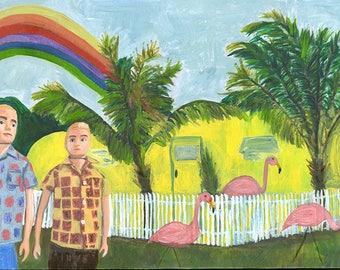 Home, Sweet Home, San Antonio, Texas -1963.  Original painting by Vivienne Strauss.