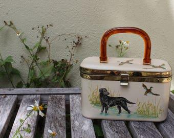 VINTAGE Box purse,handbag with handpainted black lab, mallard ducks, hunting scene - Lucite handle