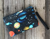 Space Galaxy Wristlet with removable strap - punk rock