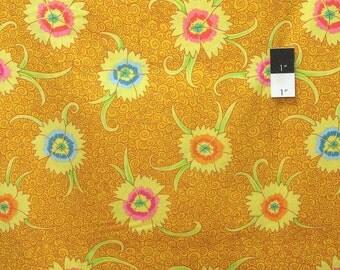 Kaffe Fassett PWGP138 Dianthus Yellow Cotton Fabric By Yd