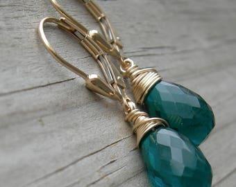 Teal Quartz Gold Fill Earrings