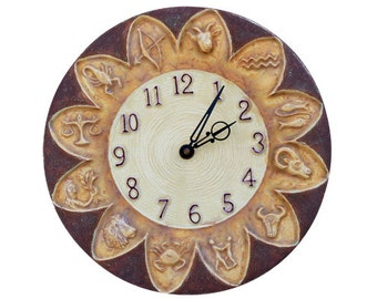 Zodiac Ceramic Wall Clock in Cream, Yellow & Purple Glazes - 11 inches in diameter