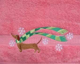 Embroidered bath and face terry towel with dachshund. Gift towel with a dog. Gift for dog lovers. For dachshund lover. Cristmas gift.
