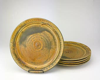 "Dinner Plates - Handmade Stoneware Pottery Clay -  Set of 5 Dinner Plates - Awesome Plates Set - 10.5""x1.25"" - Ready to Ship Now - BA-DP-1"