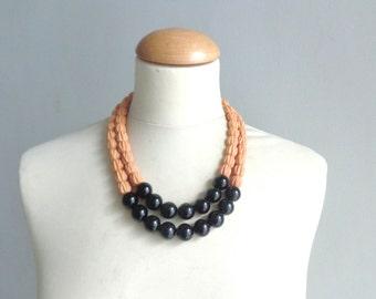 Statement orange black necklace double strand