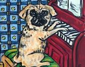 30% off Pug Playing Piano Dog Art Tile Coaster Gift