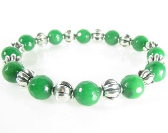 Green Jade Bracelet Set, Stretch Bracelet, Green & Silver Bracelets, Gemstone Jewelry, Mystic Jewelry