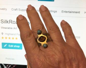 Vintage Amber & Turquoise Ring