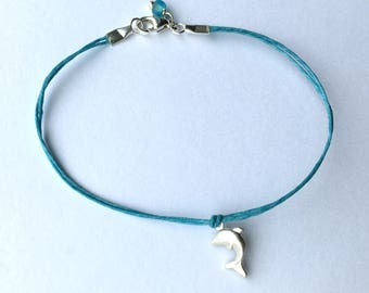 Dolphin Bracelet in Sterling Silver on Linen bridesmaid gift beach wedding graduation ready to ship