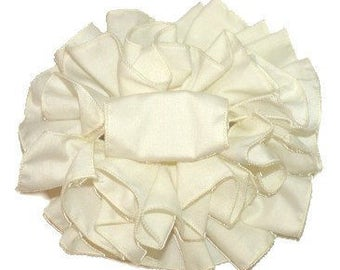 Women's Hair Bow Claw Clip - Boutique, Girl's, Barrette, Butterfly Clip, Jaw Clip, Clamp Clip, Big, Full, Puffy, Ivory Cotton Fabric