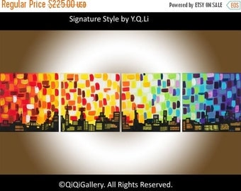 "Art painting 48"" Original Large contemporary abstract Cityscape wall decor home decor acrylic Impasto fine art ""Solaris City""by QiQiGallery"