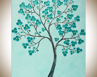 "Turquoise flowers Painting Original artwork wall art wall Decor wall hanging gift for her ""Tranquillity"" by qiqigallery"