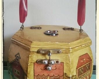 Vintage octagon wooden decoupaged town scene purse with  bakelite handle