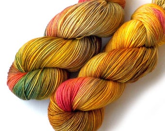 Hand Dyed Yarn Handdyed Merino Cashmere Nylon Sock Yarn - Golden Orchard
