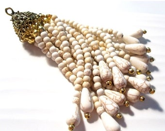 50% Off Beaded Tassel White Turquoise and Antique Gold, Stone Tassel Boho Chic trendy jewelry supplies Home Decor Jewelry Tassel TAS0025 H16