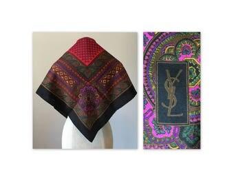 Vintage 80s Yves Saint Laurent Peasant Silk Scarf