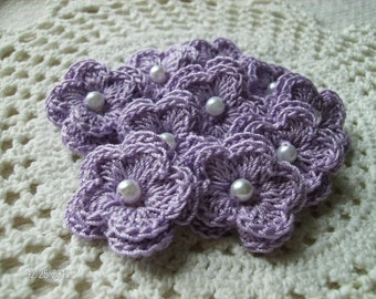 Crochet Lavendar Double Layered Flowers with Pearl Centers set of 10