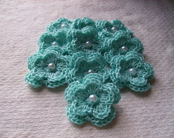 Crochet Double Layered Flowers in Aqua with pearl centers set of 10