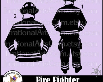 Fire Fighter Silhouette Pose 1 and 2 Men - 2 EPS & SVG Vinyl Ready Files and 2 PNG digital file Small Commercial License (Instant Download)