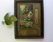 Vintage Framed Cottage Picture with Thermometer and Advertisement for Shop Made Harness, Illinois