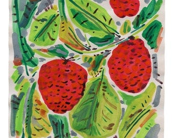Raspberries, painting on paper