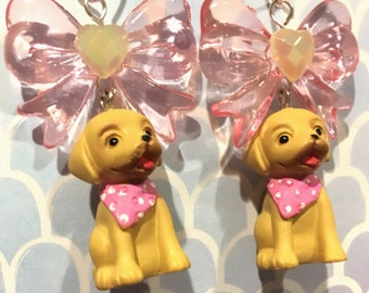 Cute Little Dog Charm Earrings With Baby Pink Bows