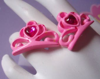 Pink Princess Heart Tiara Crown Stud Earrings