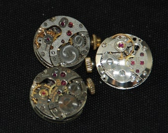 Vintage Antique tiny Round Watch Movements Steampunk Altered Art Assemblage Industrial R 35