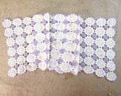 Vintage Hand Crochet Lace Table Runner Purple White Cotton Scarf Dresser Scarves Antique Linens Mint Unused Shabby Cottage Boho Decor MINT