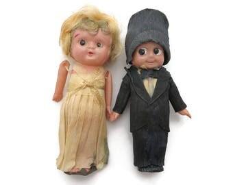 Cake Topper Couple - Flapper Bride and Groom, Crepe Paper Kewpie