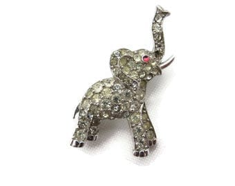 Trifari Rhinestone Elephant Brooch - 1960s Costume Jewelry, Animal, Figural