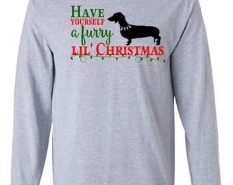 Merry Christmas Long Sleeve Tshirt Dachshund