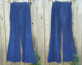 "Vintage 1970s Pants  //  Vtg 70s PACIFIC PLAY TOGS of California Distressed Navy Blue Corduroy High Waist Wide Leg Flares  //  26"" waist"
