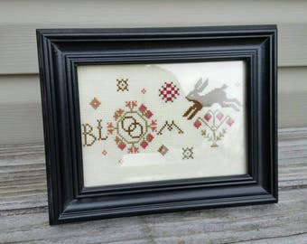 BLOOM Bunny Framed Cross Stitch Picture Spring Home Decor