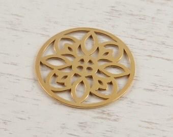 Gold Vermeil Round Flower Connector 15mm (CG9013)