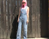 Womens Striped Overalls // Vintage Denim // 90s Grunge // Hickory Stripe // Conductor // Festival Clothing // XS SMALL