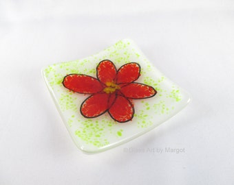 Small 3 Inch Square Fused Glass Red Flower Ring Dish