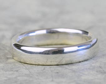 Chunky silver ring, thick oval sterling silver band, polished silver wedding band, unisex ring, simple jewellery, everyday style ring