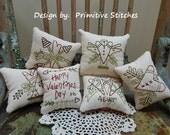 4-Ever Valentine Mini Collection 1-Primitive Stitchery  E-PATTERN by Primitive Stitches-Instant Download