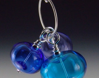 Trio of Hollow Beads, Blues bubble necklace, silver plated