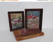 20 % Off Vintage Needlepoint Summer and Winter Framed Small