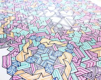 Asymmetrical Tesselation - Original Drawing