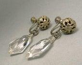 Vintage Art Deco Faceted Crystal Drop Earrings